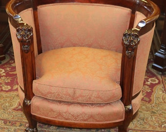 Gorgeous Restored Karpen Solid Mahogany Lion Head Carved Club Parlor Chair  WOW!