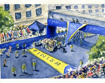 Boston Marathon Start/Finish Watercolor