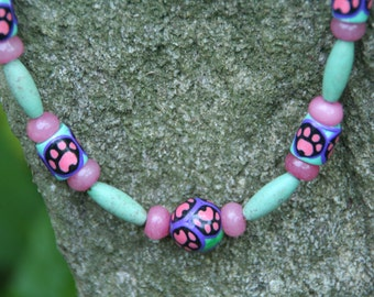 Pink & Green Paw Print Necklace