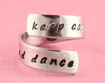 Keep Calm and Dance Ring - Gift for Ballerina - Ballet Gift - Twist Ring - Wrap Ring - Silver Ring - Custom Ring - Dance Ring - Tutu Ring