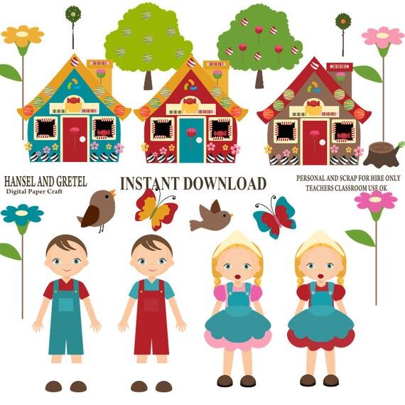 hansel and gretel fairy tale clipart instant download rh etsy com Hansel and Gretel Costumes hansel and gretel cartoon clip art