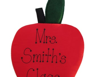 Personalized Fabric Apple for Teachers or Kitchens Wall Hanging