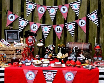 Pirate Party Printables Pirate Ship Birthday Printables Ahoy Matey - Printable Customized Package
