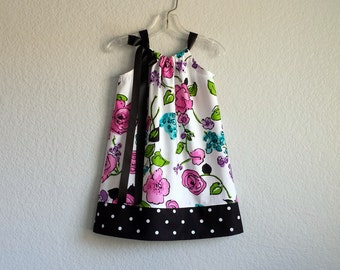 Girls Black and White Floral Dress - Pink Watercolor Flowers on White - Polka Dots on Black - Size 12m, 18m, 2T, 3T, 4T, 5, 6, 8, or 10