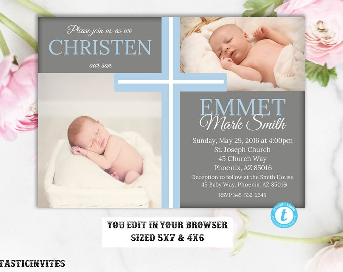 Christening Invitation Boy, Christening Template, Boy Communion Invitation, Template, Baby Dedication Invite, Religious Invite, Editable,DIY