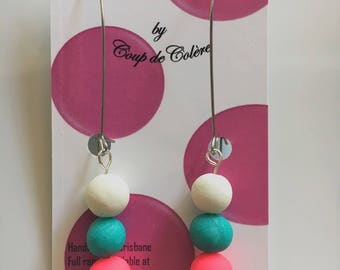Fun and colourful 3 bead dangle drop hoops handmade in polymer clay on surgical steel hoops