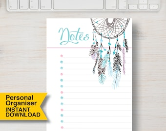 """PERSONAL SIZE NOTES Planner Insert Printable. Dream Catcher Feather Boho Printable Planner. 3.75"""" x 6.75"""" (95mm x 171mm)   #700"""