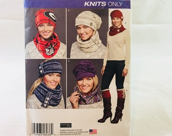 Simplicity 8036 Sewing Pattern Misses' Knit Cold Weather Accessories / hats / scarves / headbands / boot topper  / outerwear / winter wear