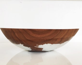 "12"" Walnut and Silver, Solid Hardwood Salad bowl, fruit bowl, serving bowl, metallic bowl by Willful"