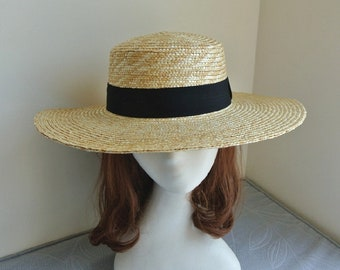 Flat top along the straw hat. Women's summer straw hat-Straw Hat -sun hat
