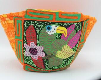 Mola Adorned Coiled Fabric Basket V