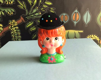 Vintage pincushion and tape measure, Charming Coquette, retro sewing notions, kitschy mod girl figurine, novelty pincushion, vintage sewing