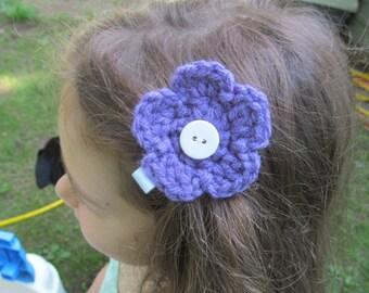 Crocheted Flower Barrette