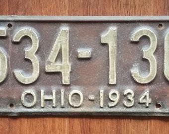 Vintage 1934 Ohio License Plate, 1934 license plate, vintage Ohio license plate, old Ohio license plate, antique Ohio license plate