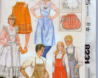 Vintage 1982 Aprons Sewing Pattern McCall's 8231 Aprons Complete