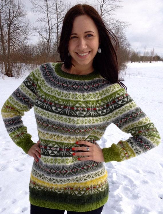 Fair Isle sweater Green sweater Women's sweater Handmade