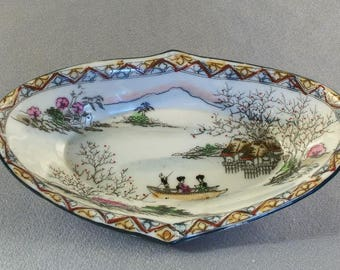 Vintage Japanese Tidbit Dish // Mid Century // Hand Painted Decorated // Very Fine Painting
