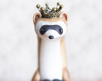 Royal Ferret Figurine - Black-Footed Ferret Sculpture by Bonjour Poupette