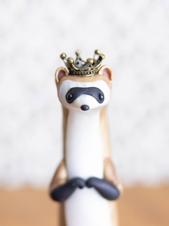 Royal Ferret Figurine - Black-Footed Ferret Sculpture by Bonjour Poupette