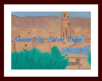 """11""""x14"""" Oil Painting on Canvas The Ancient City"""