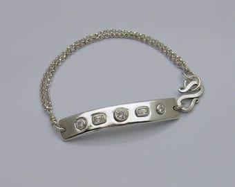 Silver Bar Bracelet with White Diamond Cubic Zirconia's, Silver Artisan Bracelet, CZ Bracelet, Sparkly Bracelet, Bling Bracelet, Modern