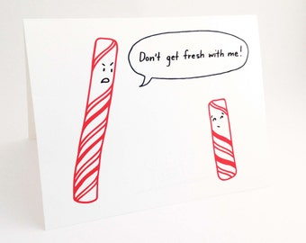 Cute best friend christmas card punny holiday love card funny christmas card humorous holiday card punny christmas peppermint stick cute holiday food card dont get fresh with me m4hsunfo