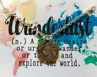 Wanderlust world necklace