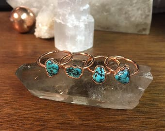 Raw Turquoise Ring // Copper Electroformed Jewelry // Raw Crystal Ring // American Turquoise Jewelry
