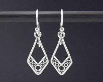 Circle Earrings Sterling Silver Dangle Earrings, Geometric Earrings, Filigree Earrings, Simple Earrings