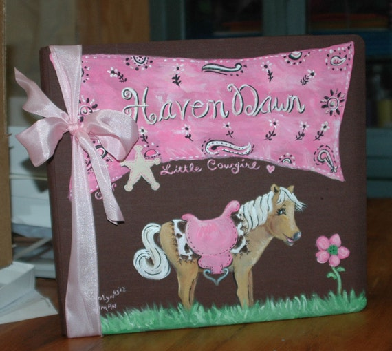 Little Cowgirl Baby Memory Book with Pink Bandana