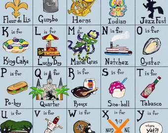 """Poster Print of """"The A,B,C's of New Orleans"""" ( 2nd Edition)"""