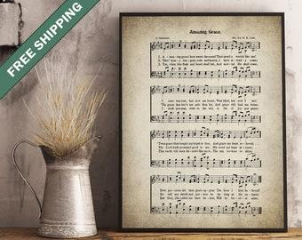 Amazing Grace Hymn Print - Sheet Music Art - Wall Art - Hymn Art - Hymnal Sheet - Home Decor - Music Sheet - #HYMN-P-017