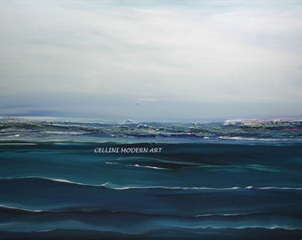 Large  Giclee Print From Original Abstract Seascape Painting 30 X 20 Many sizes Available
