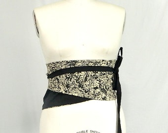 Plus Size Obi Wrap Corset Belt  Black and White