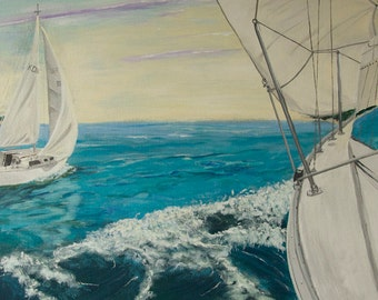 Seascape painting, view from a sail boat. 15''x30''