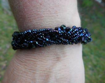 Vintage 1950s to 1960s Black Iridescent Glass Beaded Braided Bracelet Gold Tone Purple/Blue/Green Retro