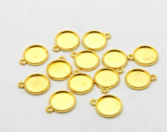 5 Pcs Cabochon Base Setting Charms Frame for Jewelry Making Gold Charms Gold Plated 12mm