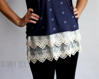 T2- Lace Top Shirt Extender *Style 2*  3 colors, sizes S-4XL