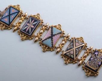 Gilt And Porcelain Victorian Bracelet (911f)
