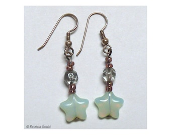 EA30 - Earrings - Czech glass beads and sterling silver wires - one of a kind by Patricia Gould