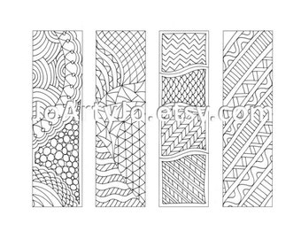 Printable Bookmarks Zentangle Inspired Coloring Page, Sheet 12