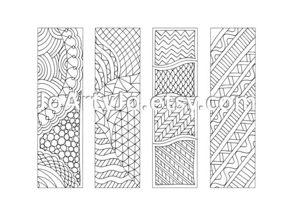 Printable Bookmarks Zentangle Inspired Coloring Page Sheet 12
