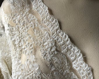 Ivory Cream Lace Alencon Lace for Bridal Gowns, Headpieces, Handbags, Clutches