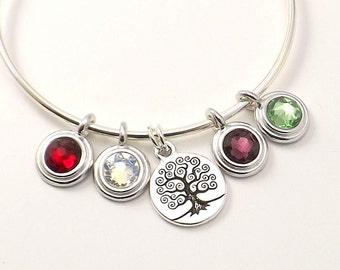 Birthstone Bangle / Swarovski Crystals Bangle / Mother's Day Bracelet / Custom Birthstone Bangle / Birthstone Bracelet / Custom Bracelet