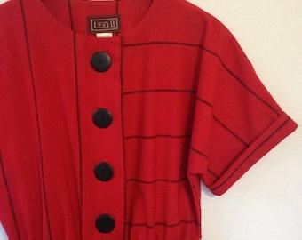 1980s red striped dress by LISA II LTD size 10