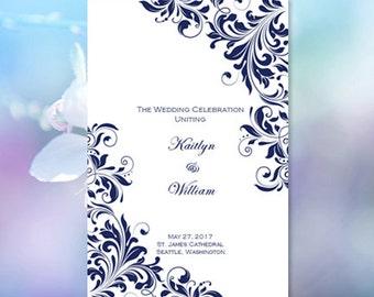 Catholic Church Wedding Program Kaitlyn Purple 8.5