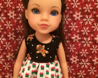 Reversible Christmas Shirt for 14inch Dolls- Gingerbread/Gifts
