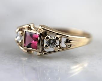 Retro Pink Tourmaline and Diamond Ring  YTKC20-D