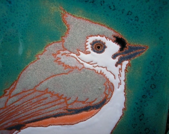 Tufted Titmouse  tile-CUSTOM ORDER - 4-6 wks production time-great for kitchen, bath, fireplace surround