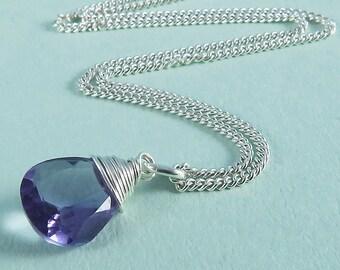 Silver Amethyst Necklace, February Birthstone Necklace, Gemstone Chakra Necklace, Mood Boosting Jewellery, Spirituality Meditation Jewelry